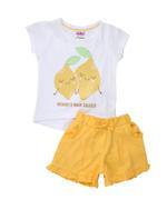 Smart Baby Baby Girl T-shirt With Bermuda Set , White/Yellow - MCGSS201826
