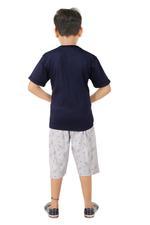 Genius Boys T-shirt With Bermuda Set , Navy/Grey Melange - SNGSS2137077