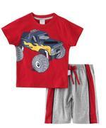 Genius Boys T-shirt With Bermuda Set , Maroon/Millanch - SNGS2034687