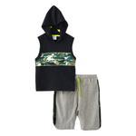 Genius Boys Hoodie With Bermuda Set , Black/Grey - SNGS2034645