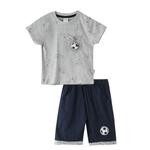 Genius Boys T-shirt With Bermuda Set,Grey Melange/ Navy - SNGS2034788