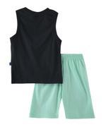 Genius Boys T-shirt With Bermuda Set ,Deep Grey /Sea Green -SNGSS2137036