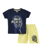 Smart Baby Baby Boys T-shirt With Bermuda Set , Navy/Light Yellow - SNGSS2137671