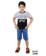 Genius Boys T-shirt With Short Set , White/Royal Blue - SNGSS2137137