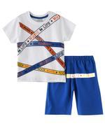Genius Boys T-shirt With Bermuda Set , White/Blue - SNGSS2136968