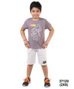 Genius Boys T-Shirt With Bermuda Set,Deep Grey/Light Melange-SNGSS2137120