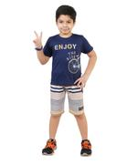 Genius Boys T-Shirt With Bermuda Set,Air Force Blue/Off White-SNGSS2137204