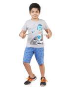 Genius Boys T-Shirt With Bermuda Set,Grey Melange/Cornflower Blue-SNGSS2137158