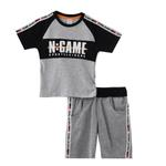 Genius Boys T-shirt With Bermuda Set,Grey Melange,SNGS2034798