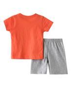 Smart Baby Baby Boys T-Shirt With Bermuda Set,Orange/Grey Melange-SNGSS2137668