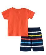 Smart Baby Baby Boys T-Shirt With Bermuda Set,Orange/Navy - SNGSS2137300