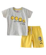 Smart Baby Baby Boys T-Shirt With Bermuda Set,Grey Melange/Yellow-SNGSS2137743