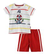 Smart Baby Baby Boys T-shirt With Bermuda Set,White/Maroon - SNGS2034995