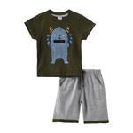 Genius Boys T-shirt With Bermuda Set,Dark Green/Grey Melange,SNGS2034685