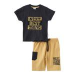 Genius Boys T-shirt With Bermuda Set,Deep Charcoal/Ecru ,SNGS2034666