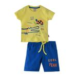 Smart Baby Baby Boy T-Shirt With Bermuda Set, Yellow/Royal Blue - SNGS2035078