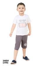 Genius Boys T-Shirt With Bermuda Set,Off White/Charcol,SNGS2034854