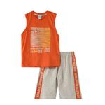 Genius Boys T-Shirt With Bermuda Set,Orange/Melange,SNGS2034777