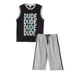 Genius Boys T-Shirt With Bermuda Set,Grey/Black,SNGS2034817