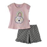 Smart Baby Baby Girls T-Shirt With Bermuda Set,Pink/Grey,SNGS2035287
