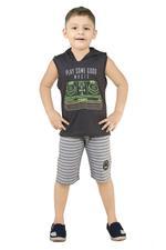 Genius Boys T-Shirt With Bermuda Set -Charcoal/Grey,SNGS2034663