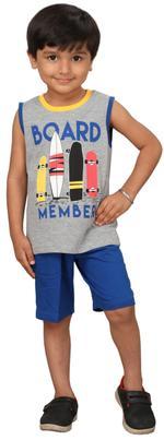 Genius Boys T-shirt With Bermuda Set,Grey/Blue,SIMGS20GSL001