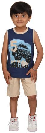 Genius Boys T-shirt With Bermuda Set,Navy/Beige,SIMGS20GSL013