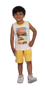Genius Boys T-shirt With Bermuda Set,White/Butter Lemon,SIMGS20GSL022