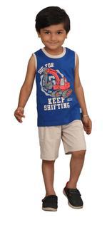 Genius Boys T-shirt With Bermuda Set,Royal/Beige,SIMGS20GSL026