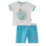 Smart Baby Baby Boy T-Shirt With Bermuda Set, White/Sky Blue - SNGS2035079