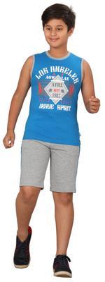 Genius Boys T-shirt With Bermuda Set,Sea Aqua Blue/Grey, SIMGS20GSL039