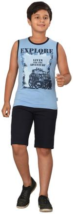 Genius Boys T-shirt With Bermuda Set,Blue/Navy ,SIMGS20GSL053