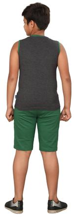Genius Boys T-shirt With Bermuda Set,Ecru Charcoal Grey/Green,SIMGS20GSL059