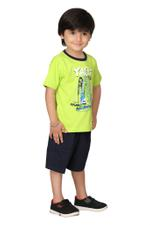 Genius Boys T-shirt With Bermuda Set,Lime/Navy, SIMGS20GBC007