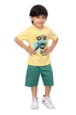 Genius Boys T-shirt With Bermuda Set,Butter/Green ,SIMGS20GBC012