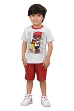 Genius Boys T-shirt With Bermuda Set,Grey/Rust,SIMGS20GBC016