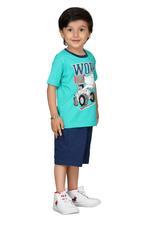 Genius Boys T-shirt With Bermuda Set,Sea Green/Navy,SIMGS20GBC022