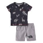 Smart Baby Baby Boy T-Shirt With Bermuda Set, Deep Grey/Steel Grey - SNGS2035102