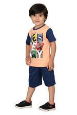 Genius Boys T-shirt With Bermuda Set,Peach/Navy,SIMGS20GBC026
