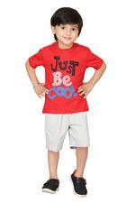 Genius Boys T-shirt With Bermuda Set,Red/Grey,SIMGS20GBC028