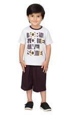 Genius Boys T-shirt With Bermuda Set,Grey Melange/Wine,SIMGS20GBC030