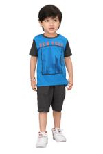 Genius Boys T-shirt With Bermuda Set,Royal Blue/Charcoal Grey,SIMGS20GBC034
