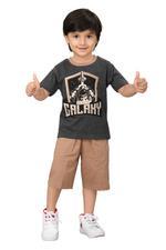Genius Boys T-shirt With Bermuda Set,Anthra Melange/Coffee,SIMGS20GBC038