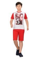 Genius Boys T-shirt With Bermuda Set,Grey Melange/Red,SIMGS20GBC042