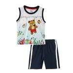 Smart Baby Baby Boy T-Shirt With Bermuda Set, White/Navy - SNGS2034950