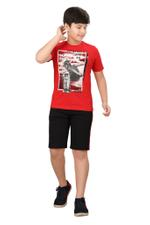 Genius Boys T-shirt With Bermuda Set,Red/Black,SIMGS20GBC044