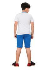 Genius Boys T-shirt With Bermuda Set,Ecru Melange/Royal Blue,SIMGS20GBC055