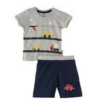 Smart Baby Baby Boy T-Shirt With Bermuda Set, Cream Melange/Navy - SNGS2034992