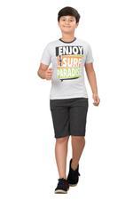 Genius Boys T-shirt With Bermuda Set,Ecru Melange/Charcoal Grey SIMGS20GBC070