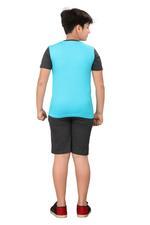 Genius Boys T-shirt With Bermuda Set,Aqua/Charcoal Grey SIMGS20GBC074